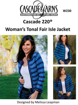 Woman's Tonal Fair Isle Jacket in Cascade 220 - W230