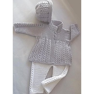 Quick knit baby jacket, hat and matching pants