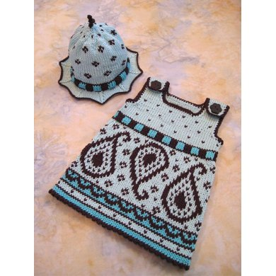 Paisley Baby Dress and Hat