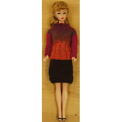 Fashion Doll Yoked Pullover and Slim Skirt