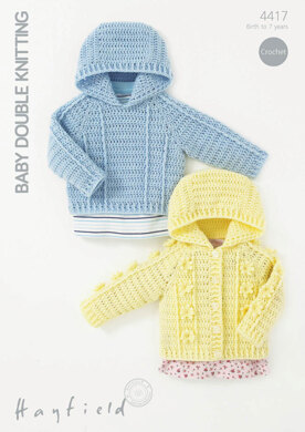 Crochet Textured Jumper and Cardigan in Hayfield Baby DK - 4417