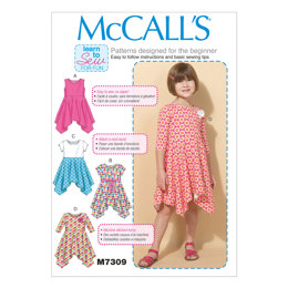 McCall's Children's/Girls' Handkerchief-Hem Dresses M7309 - Sewing Pattern
