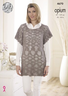 Slouch Tunic & Cowl Neck Top in King Cole Opium - 4670 - Downloadable PDF