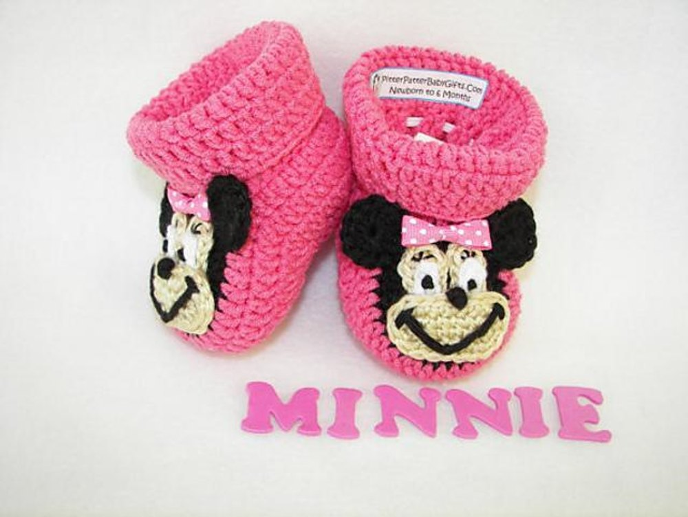 Minnie Mouse Baby Booties Crochet Pattern By Sara Ayers Crochet