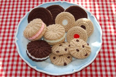 Knitting & Crochet Pattern for a Selection of Biscuits / Cookies - Play Kitchen