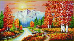 Needleart World A Flaming Sunset No-Count Cross Stitch Kit - 90 x 53 cm (Multi)