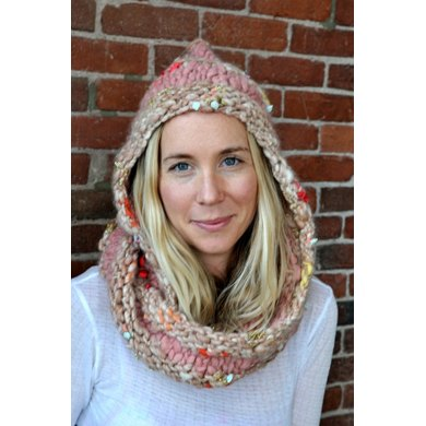 Hoodie Cowl in Knit Collage Gypsy Garden