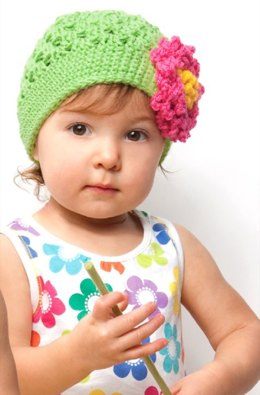 Floral Hat in Red Heart Kids - CTMay11-58