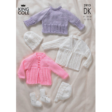 Sweater, Cardigans, Bonnet, Hat & Bootees in King Cole DK - 2913