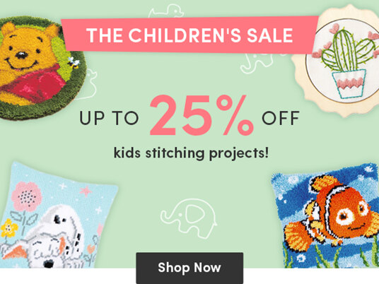 Up to 25 percent off children's stitching kits & patterns!