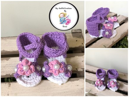 ff2ed12b584c Baby Gladiator Flower Sandals crochet project by Tiersa B ...