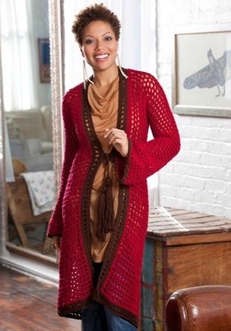 Long on Looks Cardie in Red Heart Soft Solids - LW2953