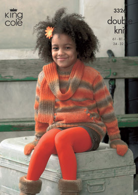 Jacket, Sweater, Scarf & Mittens in King Cole Riot DK - 3326
