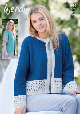 Jackets with Contrast Overlay in Wendy Fleur DK - 5996 - Leaflet