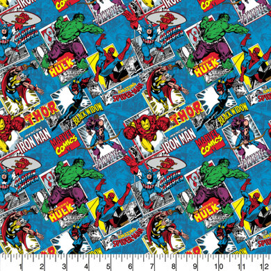 Visage Textiles Licensed - Marvel Comic Burst Blue