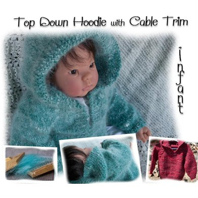 Top Down Hoodie with Cable Trim