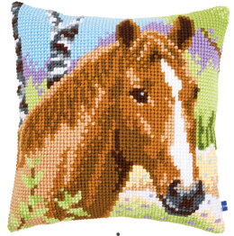 Vervaco Chestnut Mare Cross Stitch Cushion Kit - Multi