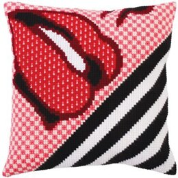 Collection D'Art Red Lipstick Cross Stitch Cushion Kit - 40cm x 40cm