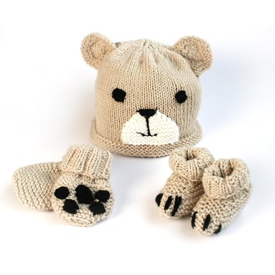 Easy Baby Bear Hat Booties Mittens Knitting Pattern By Sproglets Kits