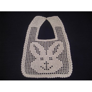 Filet Crochet Bib - Bunny