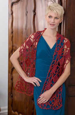 Krysia Flower and Diamond Wrap in Red Heart Boutique Midnight - LW4080 - Downloadable PDF