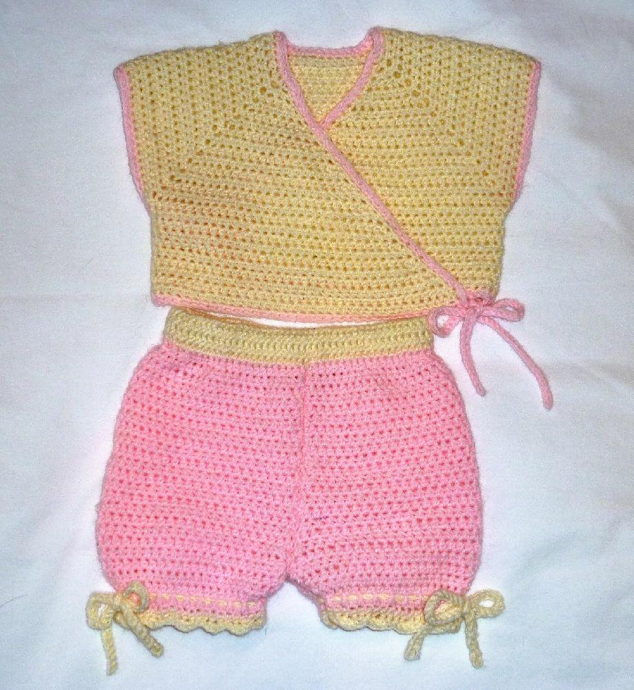 Neckdown Crocheted Baby Kimono Vest with Panties (or Shorts) Crochet pattern ...