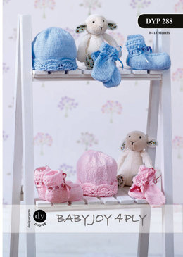 Ribbon Edge Hat, Mittens and Bootees in DY Choice Baby Joy 4 ply - Downloadable PDF