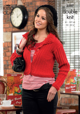 Cardigan, Waistcoat and Hat in King Cole Glitz DK - 3587