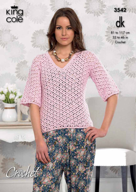 Crochet Ladies Cardigan and V-Necked Top in King Cole ...