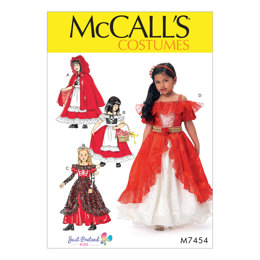 McCall's Children's/Girls' Dress-Up Costumes with Attached Petticoat and Cape M7454 - Sewing Pattern