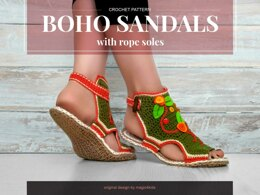 Boho sandals with jute rope soles