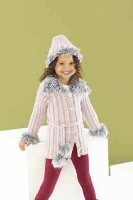 Childrens Jacket, Gilet, Headband, Boot Toppers, and Hat in King Cole Fashion Aran and Luxury Fur in King Cole - 5444 - Leaflet