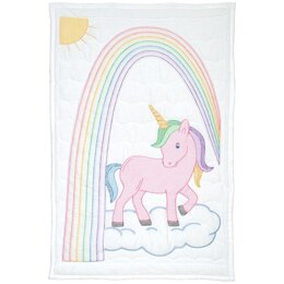 Jack Dempsey Stamped White Quilt Crib Top - Unicorn - 40in x 60in