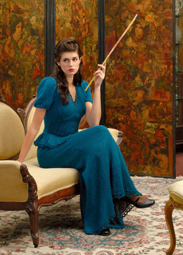 1940's Inspired Gown in Blue Sky Fibers Alpaca Silk