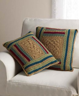 Log Cabin Variations Pillows in Red Heart With Love Solids - LW3600