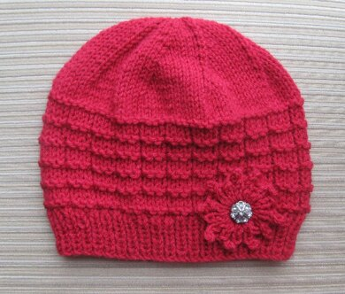 Red Hat in Waffle Stitch with a Knit Flower for a Lady