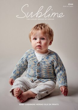 Baby Boy's V Neck Cardigan in Sublime Baby Cashmere Merino Silk DK Prints - 6144 - Downloadable PDF