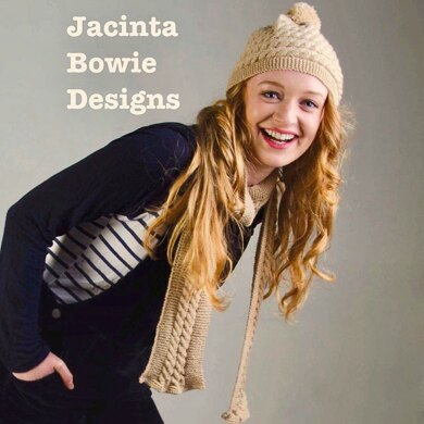 Cable Pom Pom Hat and Scarf set