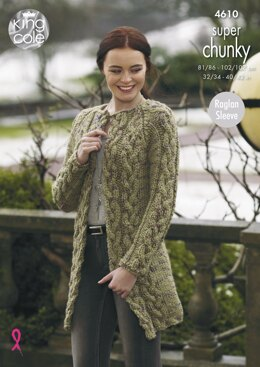 Cardigan and Coatigan in King Cole Big Value Super Chunky Twist - 4610 - Downloadable PDF