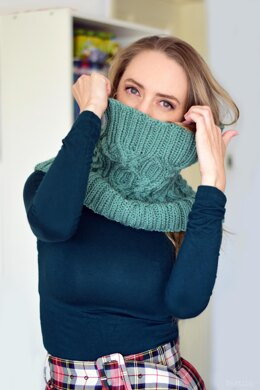 Granite cable knit cowl scarf