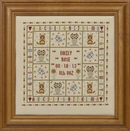 Historical Sampler Company Four Foxes Birth Sampler Cross Stitch Kit
