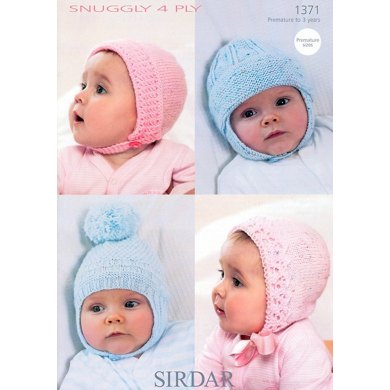 Baby's Bonnets and Helmets in Sirdar Snuggly 4 Ply - 1371