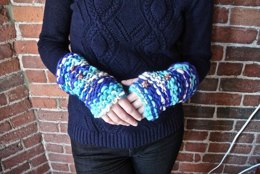 Fingerless Gloves in Knit Collage Gypsy Garden
