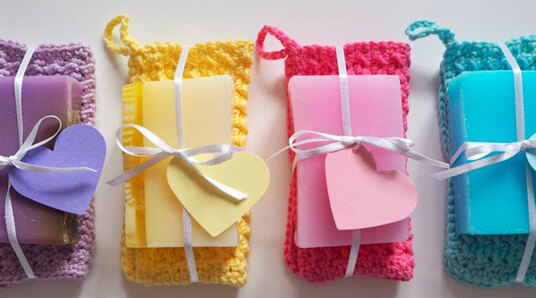 crocheted wash cloth with bar of soap