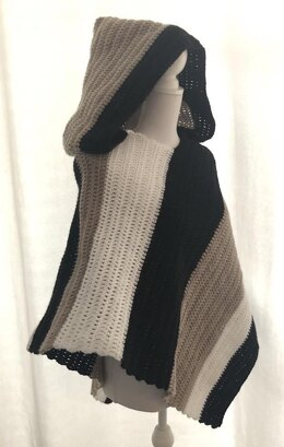Hooded poncho striped