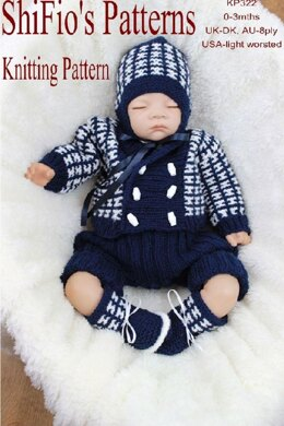 Knitting Pattern boys set UK & USA Tersm #322