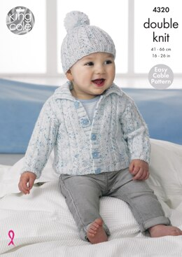 Children's Cardigans & Hats in King Cole Smarty DK - 4320 - Downloadable PDF