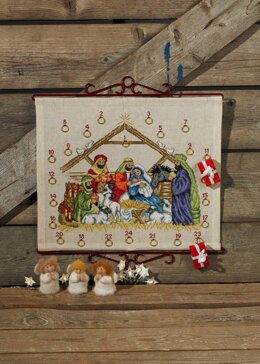 Permin Nativity Advent Calendar Cross Stitch Kit - 45cm x 38cm