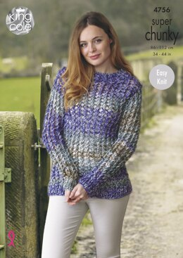 Sweater & Short Sleeved Top in King Cole Super Chunky - 4756 - Downloadable PDF