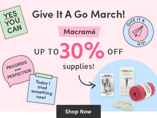Macrame: give it a go! Up to 30 percent off supplies!